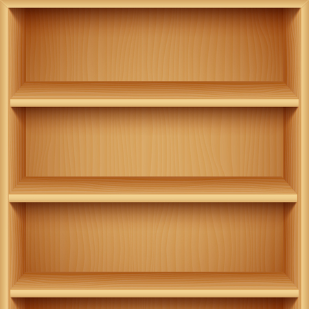 market place: Empty Wooden Bookshelves