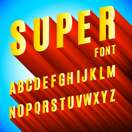 3D Font Alphabet vector illustration.