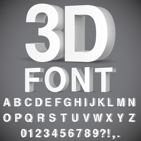 3D Alphabet and Numbers Illustration