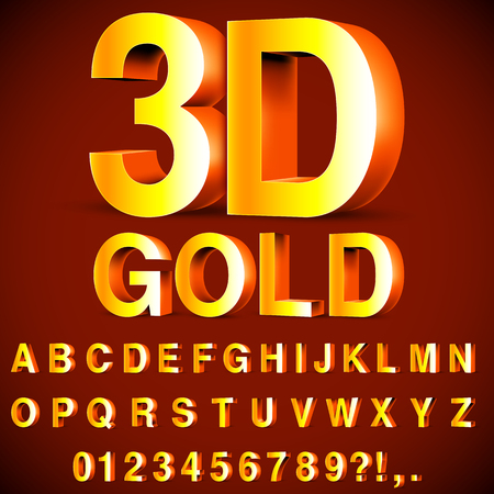 Golden 3D Alphabet and Numbers Illustration