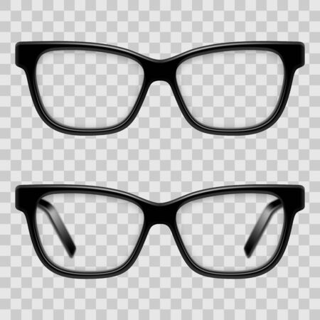 Black Framed Glasses illustration on transparent background. 矢量图像