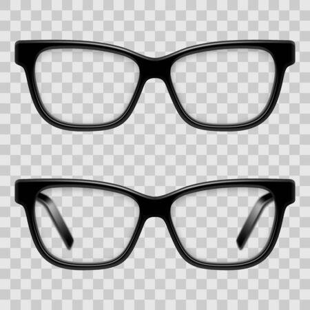Black Framed Glasses illustration on transparent background. Illustration