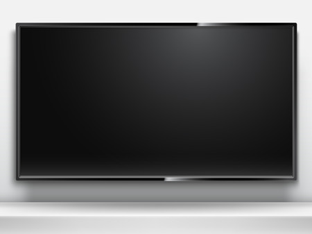 Realistic TV model with empty black screen