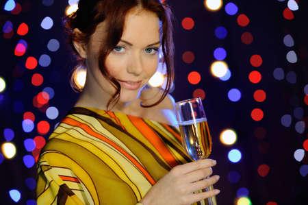 beautiful girl with vine glass photo