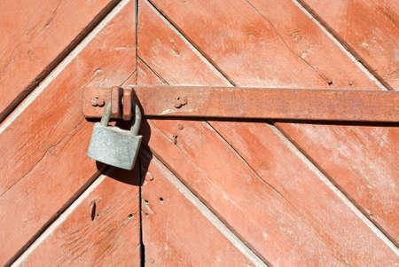 Wooden door with lock photo