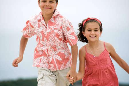happy kids running photo
