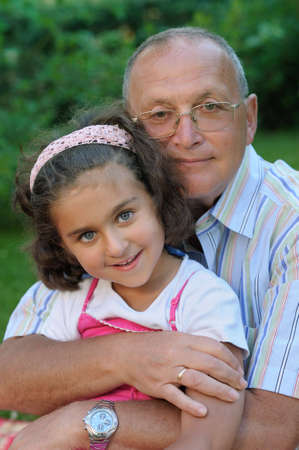 Happy grandfather and kid outdoors Stock Photo - 4134400