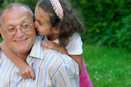 Happy grandfather and kid outdoors Stock Photo - 4149687