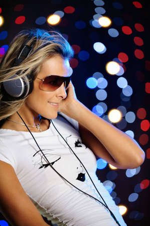 Beautiful female with headphones