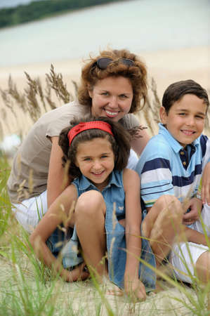 Happy mother and kids photo