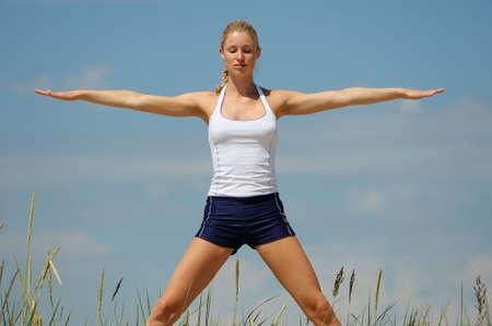 careless: Beautiful blond female workout on the beach