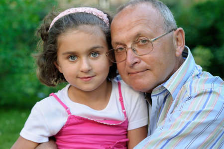 Portrait of grandfather and kid outdoors Stock Photo - 4632374