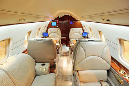 private plane: Interior of jet airplane Stock Photo