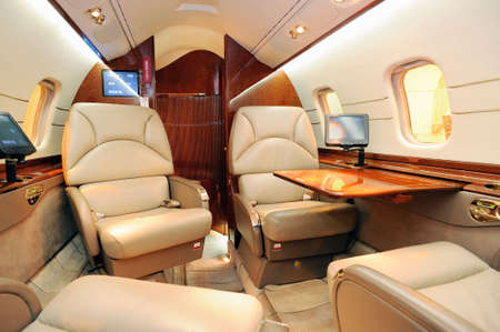 Interior of luxury jet plane