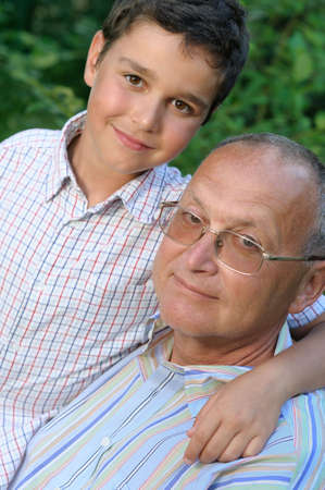 Grandfather and kid outdoors Stock Photo - 4601436