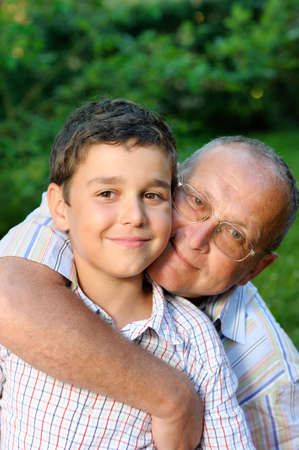 Happy grandfather and kid Stock Photo - 4642864