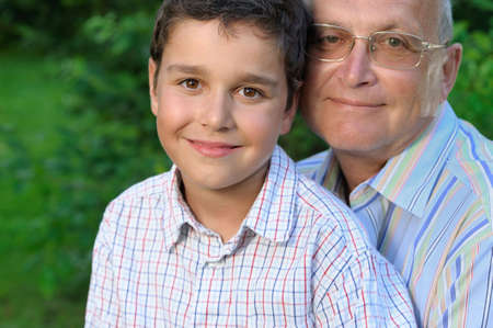 Portrait of grandfather and kid Stock Photo - 4673335
