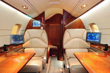 Interior of luxurious jet airplane