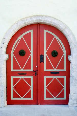 fanlight: Red old door