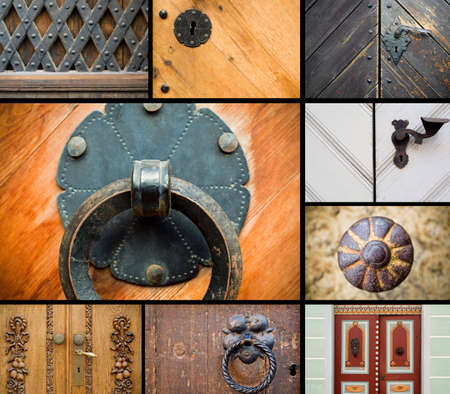 Collage of old doors with handles photo