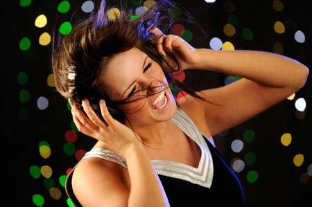 listening to music: Escuchando m�sica Foto de archivo