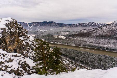 katun: Mountain river Katun, Altay, Russia. A winter scenic. Stock Photo