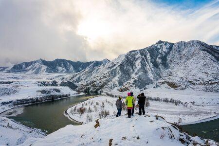 katun: Mountain river Katun, Altay, Russia. A winter scenic. Siberia Stock Photo