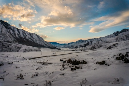 ulagan: Altai Mountains, road, winter, trip