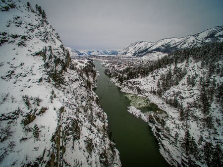 katun: Mountain river Katun, Altai, Russia. A winter scenic. Aerial Stock Photo