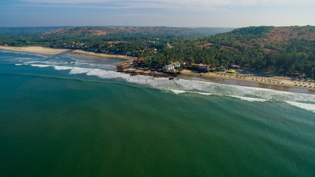 Kalacha beach, India in Goa. Aerial. Near of Sweet lake and Baba Stock Photo