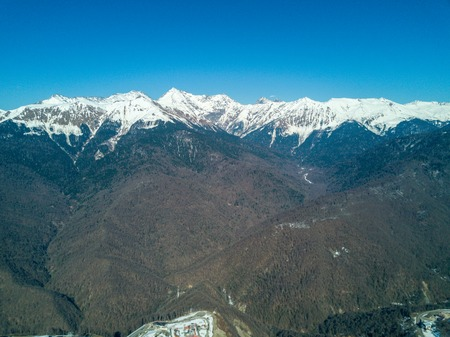Mountain landscape in Sochi, the Caucasus. View from Air Stock Photo