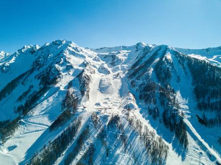 El festival de esquí NewStarCamp en Sochi, Rosa Khutor. Vista aérea