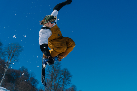 2017 04 Festival NewStarCamp: skier jumps from a high springboard