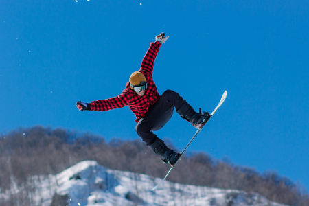 2017 04 Festival NewStarCamp: snowboarder jumps from a high springboard