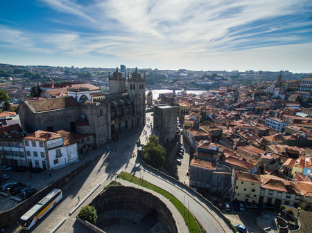 ribeira: Aerial panoramic view of Ribeira - the old town of Porto, Portugal. 2016 09