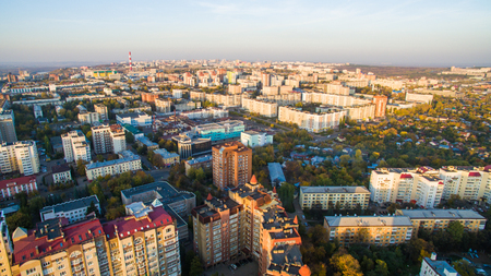 Ufa city at sunset in center. Aerial view Stock Photo