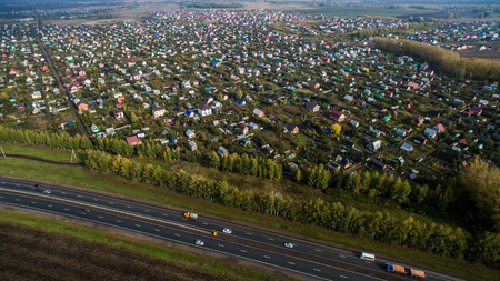 Aerial view of the Russian countryside in autumn