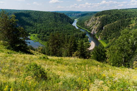 Panoramic view of Shulgan tash nature reserve, Bashkortostan, Russia. Aerial view Stock Photo