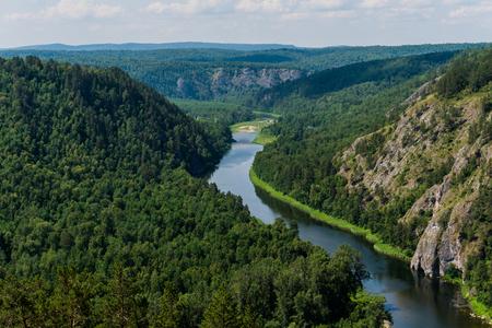 paleolithic: Panoramic view of Shulgan tash nature reserve, Bashkortostan, Russia. Aerial view Stock Photo
