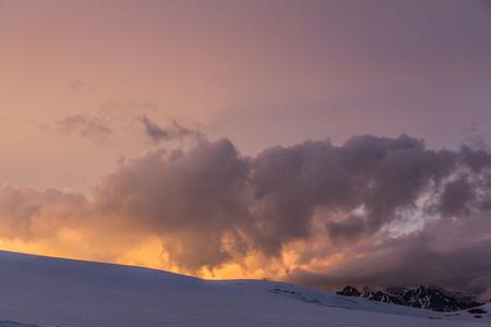 2014 07 Mount Elbrus, Russia: Panoramic view from Garabashi station Stock Photo