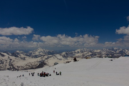 2014 07 Mount Elbrus, Russia: Climbing on mountain Elbrus Stock Photo