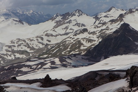 Snowy and deserted slopes of Mount Elbrus