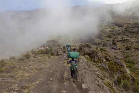 Track on Kilimanjaro on the Machame Route Whiskey Stock Photo