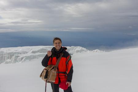 Man photographed on top of Kilimanjaro mountain. 5 day