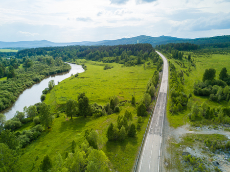 Aerial view of the Russian landscape in summer Stock Photo