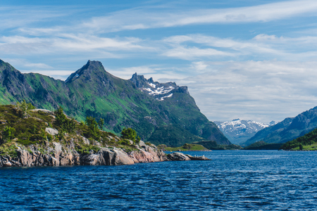 Sailing a yacht in Norway Stock Photo