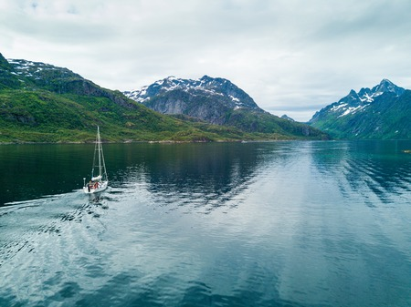 Aerial view of sailing yacht in Norway Stock Photo
