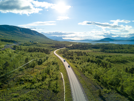 curve road: Norwegian road in the mountains. Aerial view Stock Photo