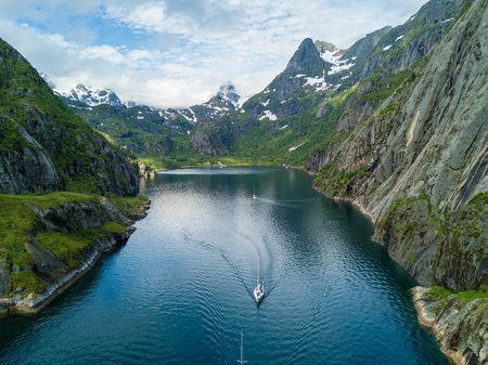 Yachting in Troll fjord. Aerial view Stock Photo