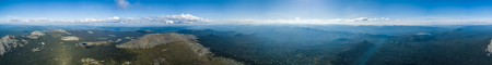 panorama of mountain landscape in the vicinity of Mount Iremel. Aerial view